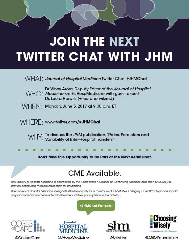 #JHMChat on #IHT w/ @JHospMedicine @FutureDocs @leorahorwitzmd starts NOW! Join the conversation, then claim #CME: https://t.co/PmiaIfuoX1 https://t.co/hTxF6w4jOS