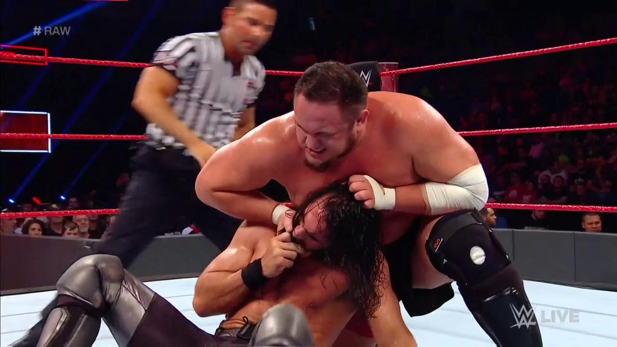 Winning the #ExtremeRules #Fatal5Way has made @SamoaJoe virtually UNSTOPPABLE...and @WWERollins is feeling it! #RAW