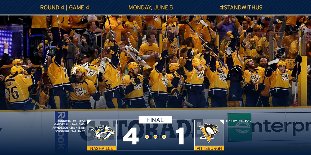 Game 4 = OURS. Series = TIED. We will see you in #Smashville for Game 6! #PITvsNSH https://t.co/fCB4M1FjkG