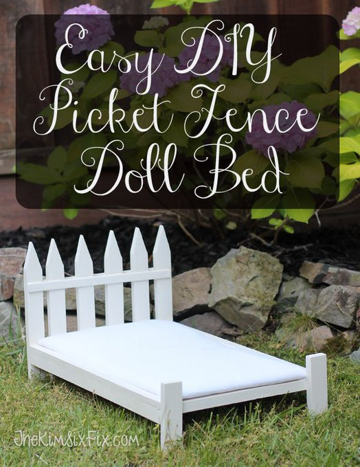 Easy DIY Picket Fence Doll Bed from Survey Stakes