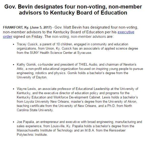 "bluegrass politics on twitter: ""gov bevin names four non-voting"