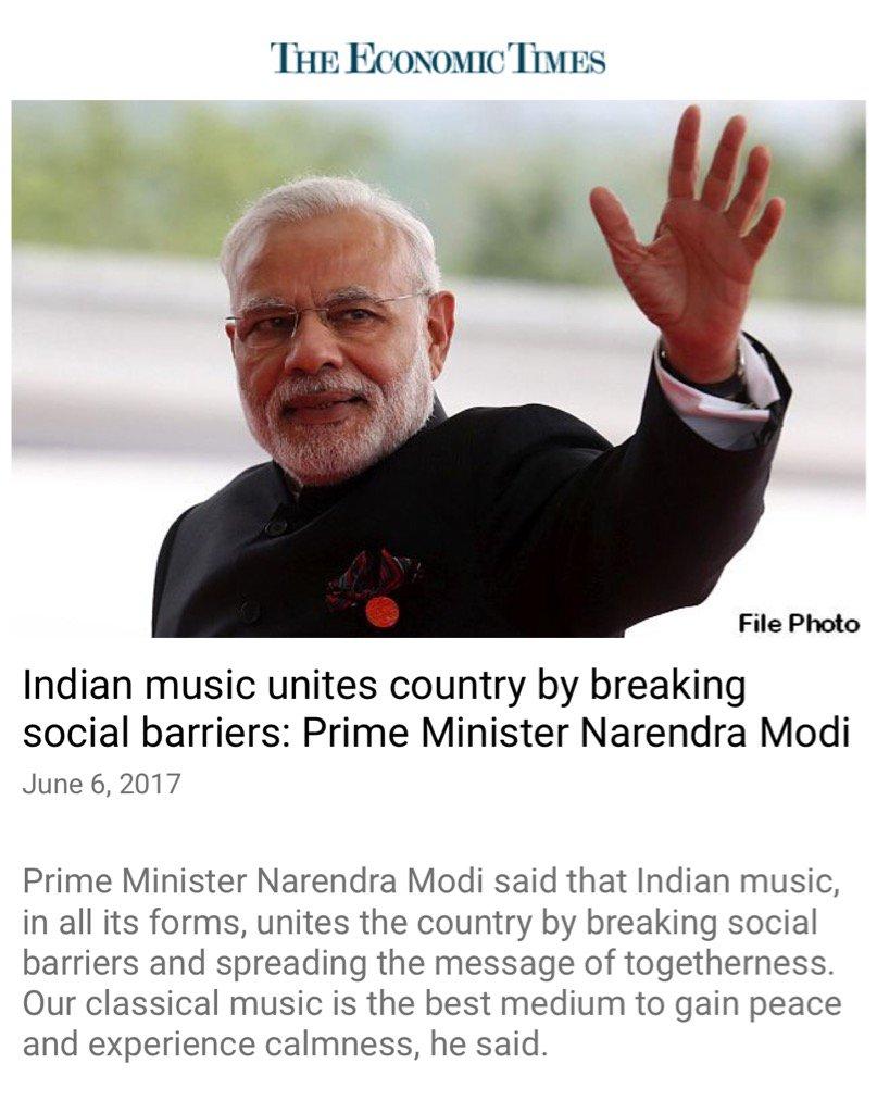 Indian music unites by breaking social barriers: Prime Minister Narendra Modi  https://t.co/ewgnEU2btw  via NMApp