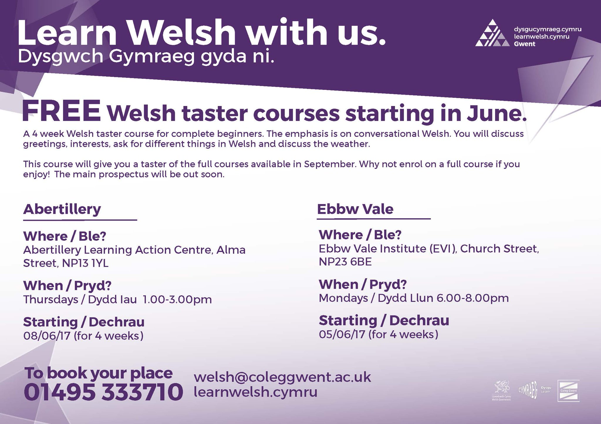 Learn Welsh Gwent On Twitter Free Welsh Taster Course In Ebbwvale