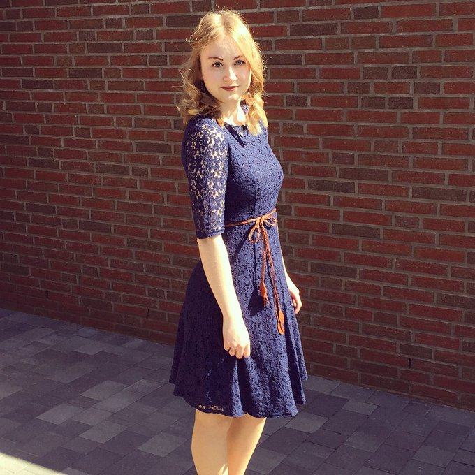 Navy Lace Crop Sleeves A-Line Dress
