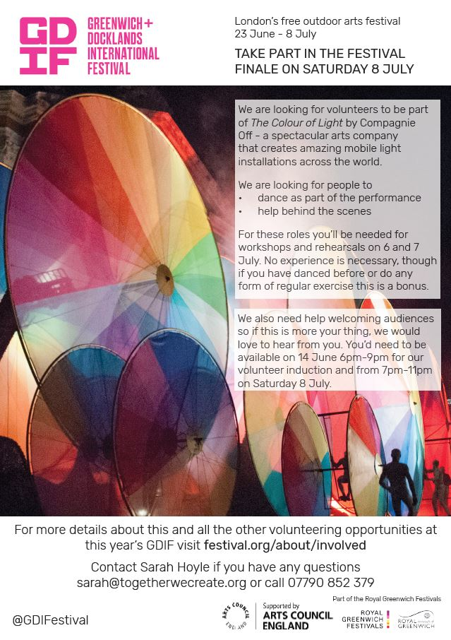 Want to be part of the @GDIFestival on July 8th? They're looking for volunteers to be part of their spectacularly colourful Finale! 🌈🌈🌈