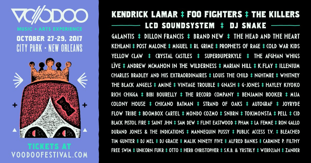 Here it is, your 2017 #VoodooFest Lineup! 3-Day Tickets go on sale, Friday at 10am CT. https://t.co/u5FdMyfwRJ https://t.co/PNSEEwG9hI