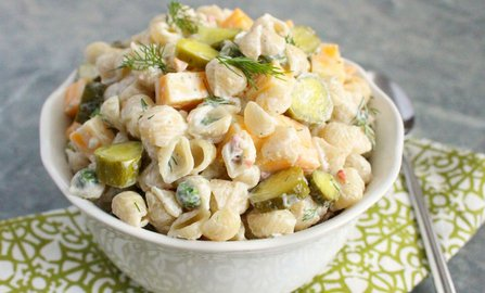 Dill Pickle-Ranch Pasta Salad