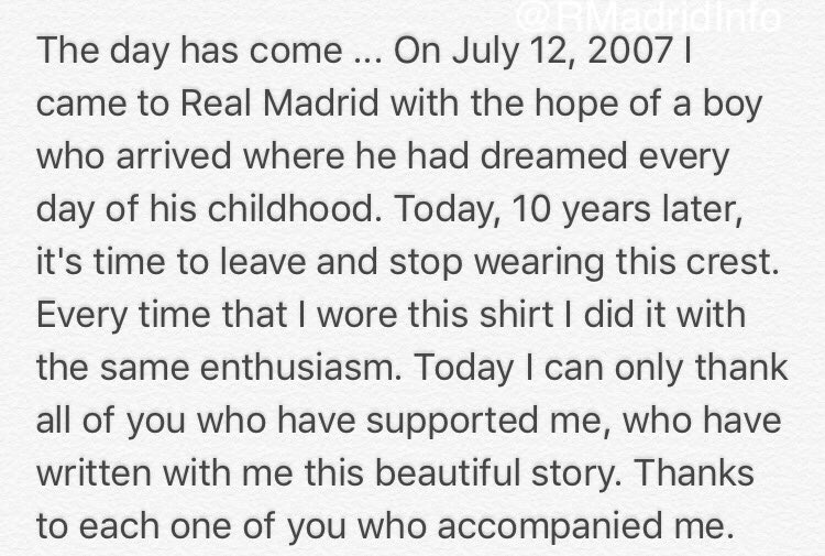 Real Madrid Info on Twitter Pepes Farewell letter to the