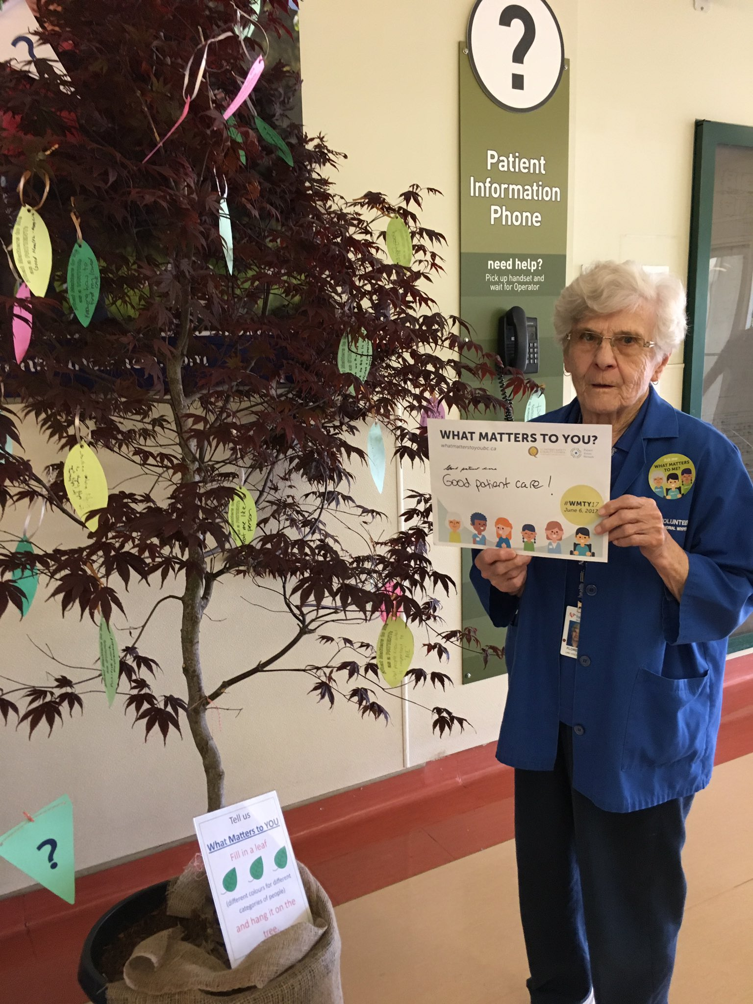"#langleymemorialhospital volunteer Flo  ""good patient care"" matters to her. #WMTY17 @Fraserhealth @PatientVoicesBC @BCPSQC https://t.co/wUKyTqpJJy"