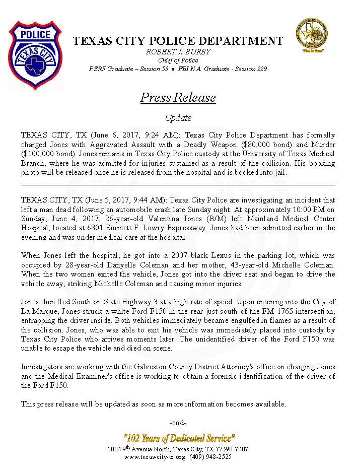 Texas City Pd On Twitter Press Release Update
