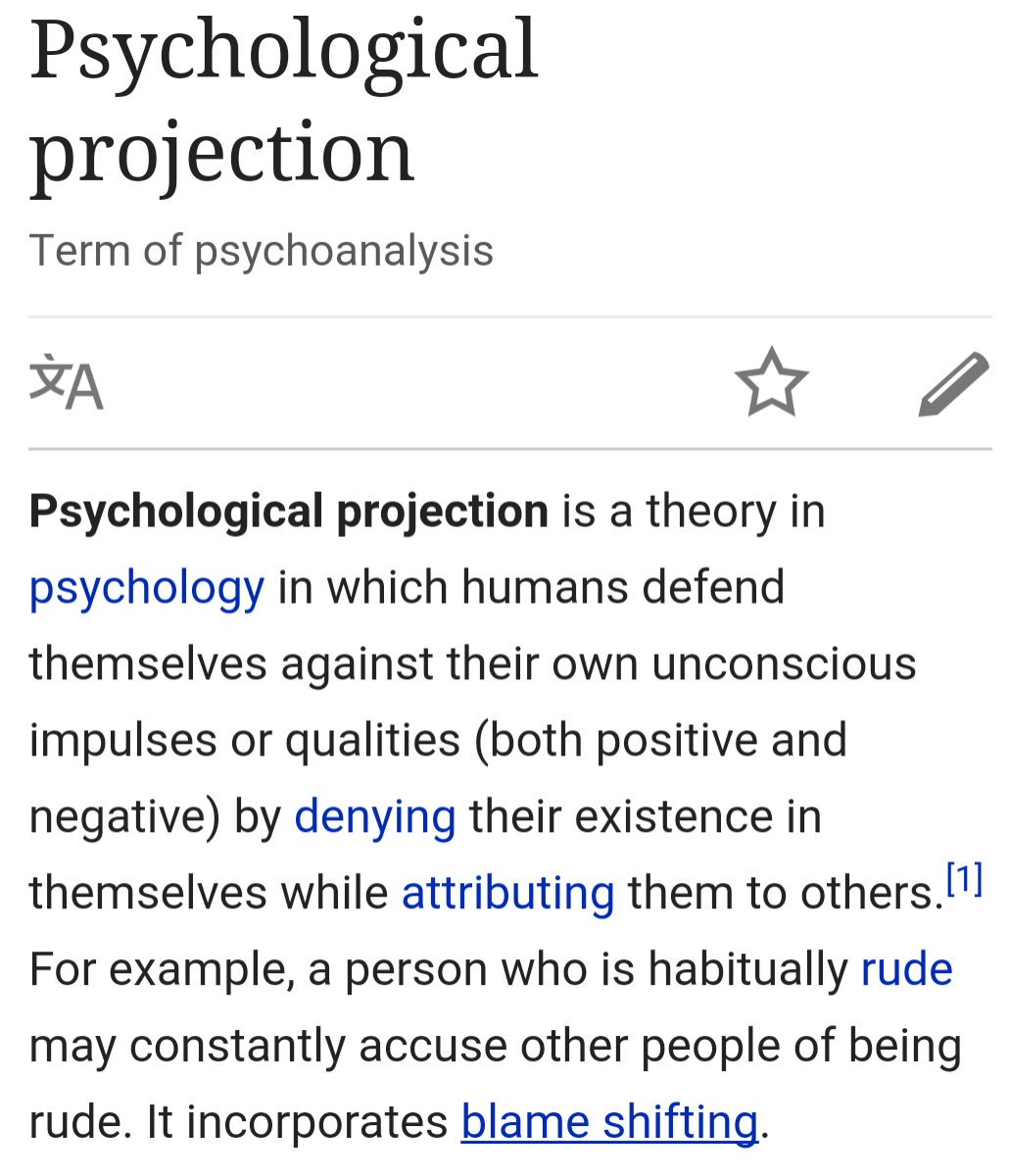 projection psychology Psychological projection is a defense mechanism in which a person attributes undesirable thoughts or feelings onto someone else.