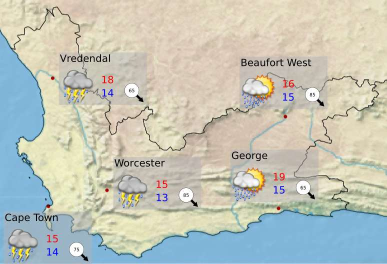 Sa Weather Service On Twitter Western Cape Tomorrow S Weather