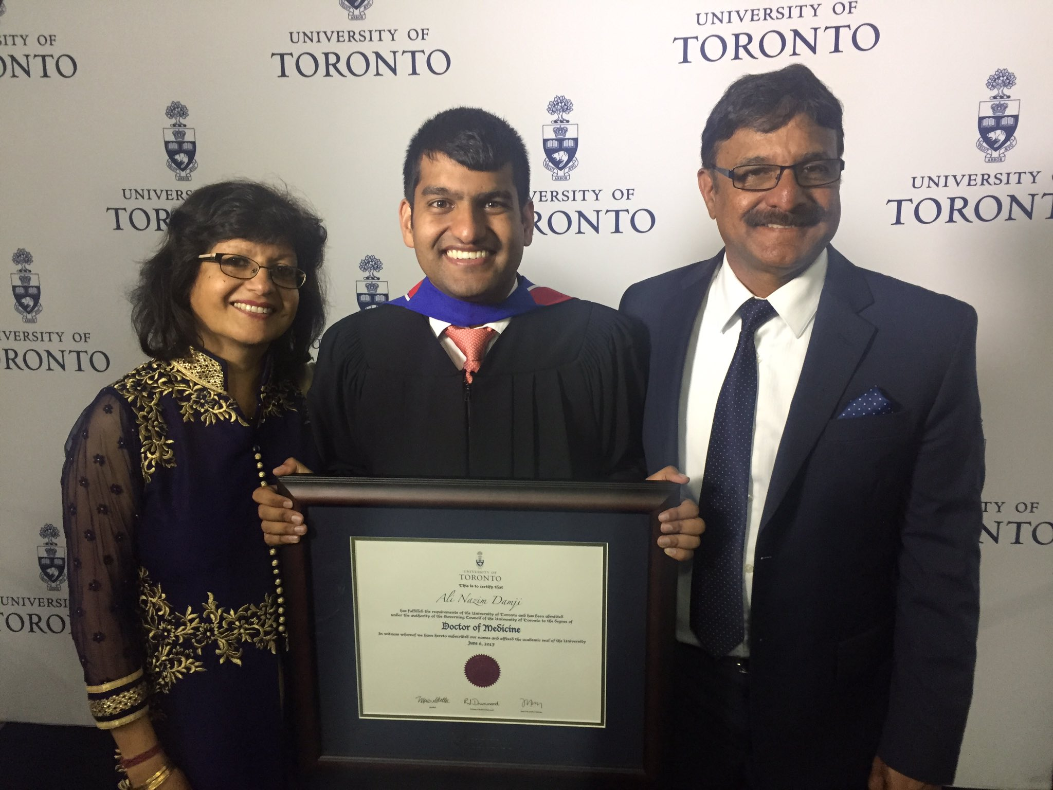 It's official! I'm Ali Damji, MD! Thank you family, friends, and mentors for being there for me every step of the way. #UofTGrad17 #UofTMed https://t.co/uTjLdZOub4