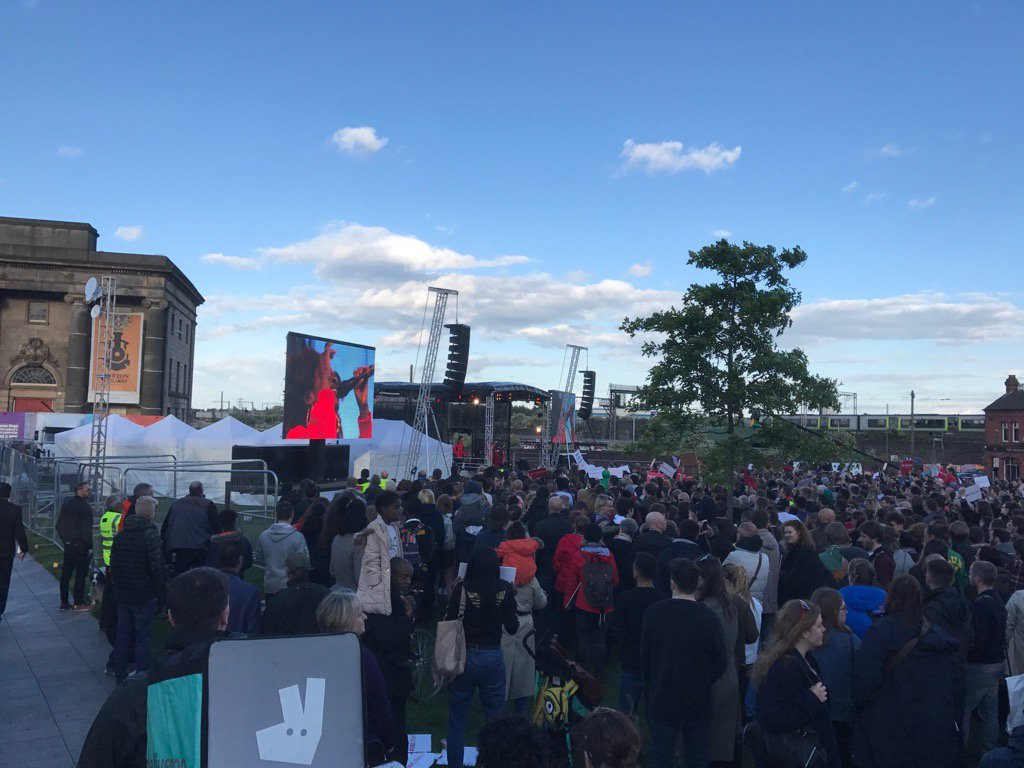 Corbyn rally, Birmingham tonight. He has probably addressed bigger meetings in 2017 than any leader since Churchill
