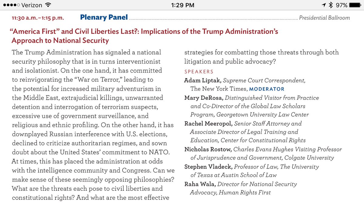 I'm part of an otherwise spectacular cast for Saturday's @acslaw #ACS2017 plenary on nat'l security and civil liberties in the Trump admin.: https://t.co/gmOPGOinvU