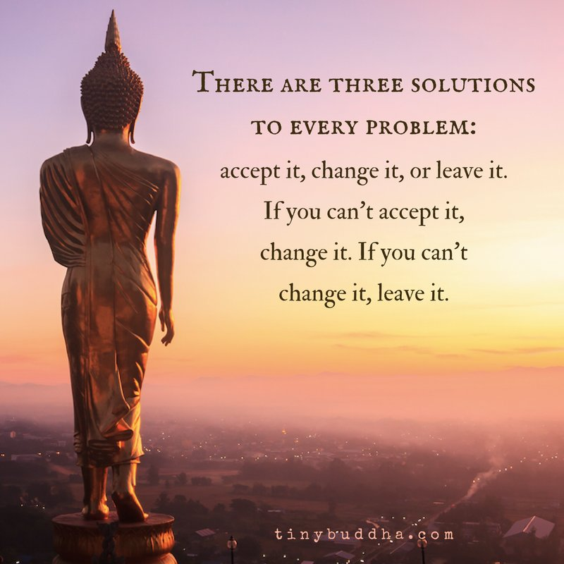 There Are 3 Solutions To Every Problem: Accept It, Change