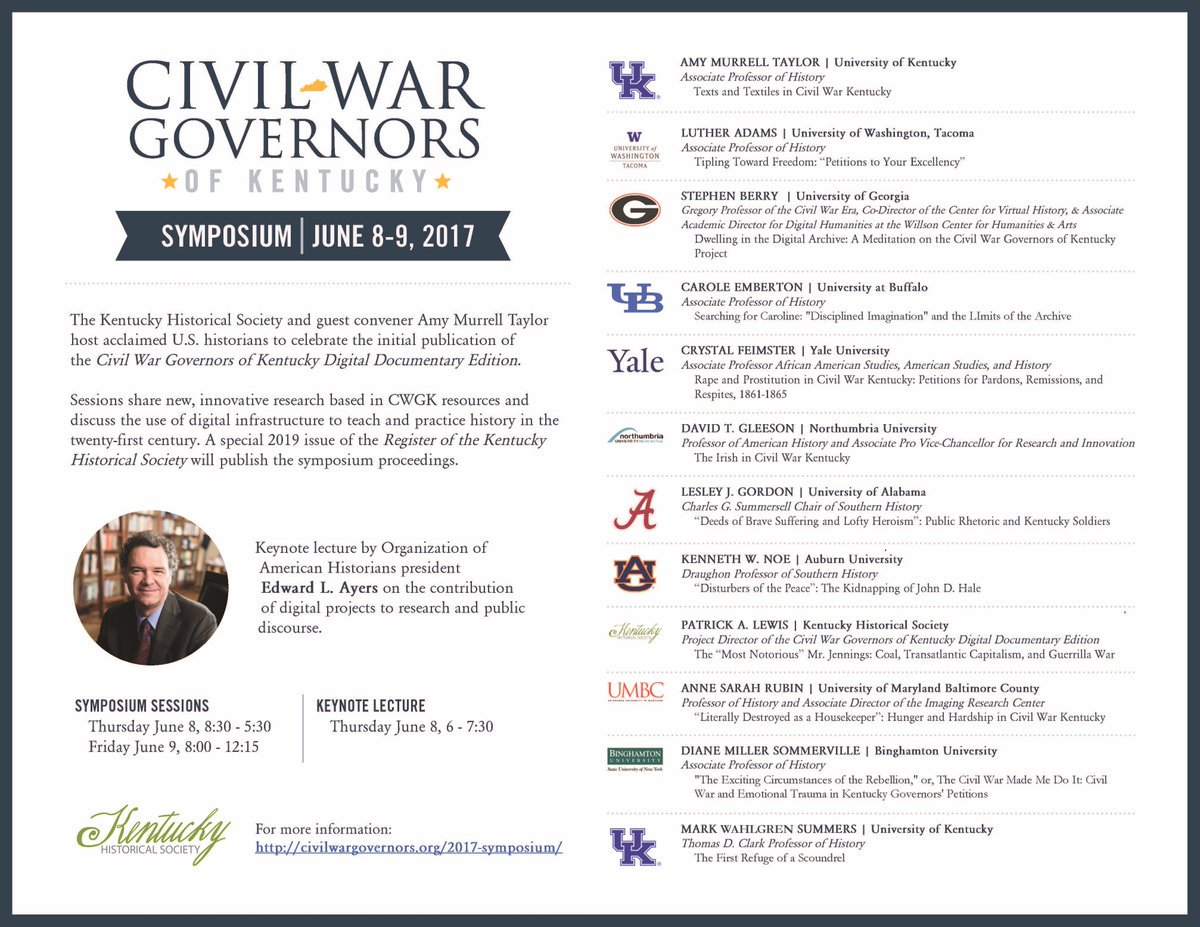We're excited about this great lineup of historians for our #CWGK symposium this week! Seating for the keynote is limited, so call KHS today https://t.co/QhNE0AhGCR