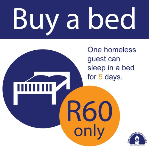 #capestorm Buy a bed for the homeless at @TheHavenWO for 5 days for less than $5 https://t.co/W3cZSihwsX https://t.co/sf19iTVrLs