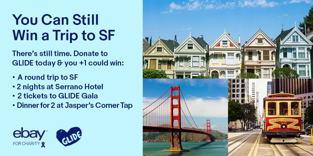 Ebay On Twitter California Dreaming Donate To Glidesf From 5 9 6 9 And You Could Win A Trip To San Fran Enter Now Https T Co Vclpfanxs0 Https T Co D5olkqhcnc
