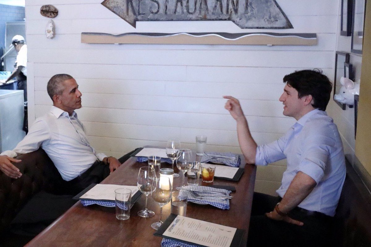 Obama and Trudeau on a dinner date tonight in Montreal.
