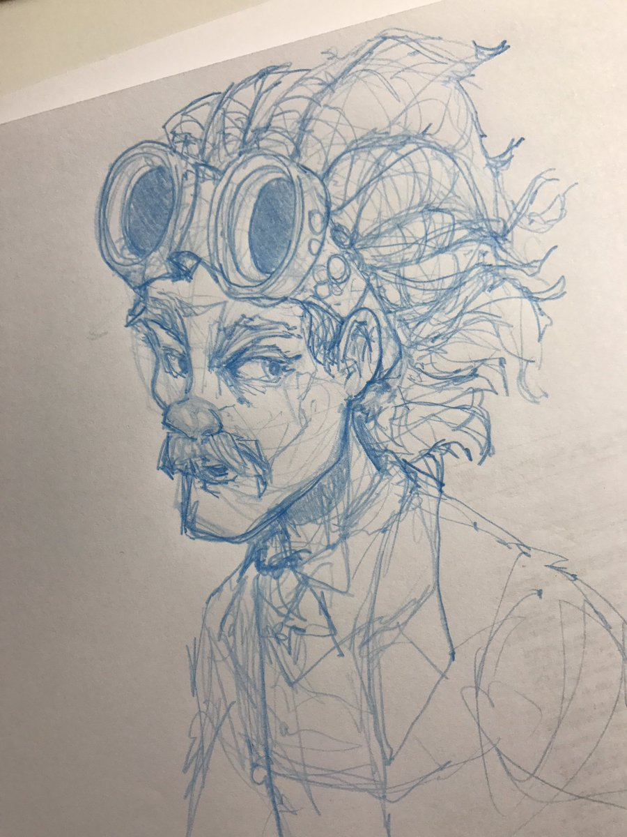 Wild haired #steampunk #goggle dude #sketch #drawing #illustration #doodlebags #nashville #art<br>http://pic.twitter.com/cwHJB8R2Rb