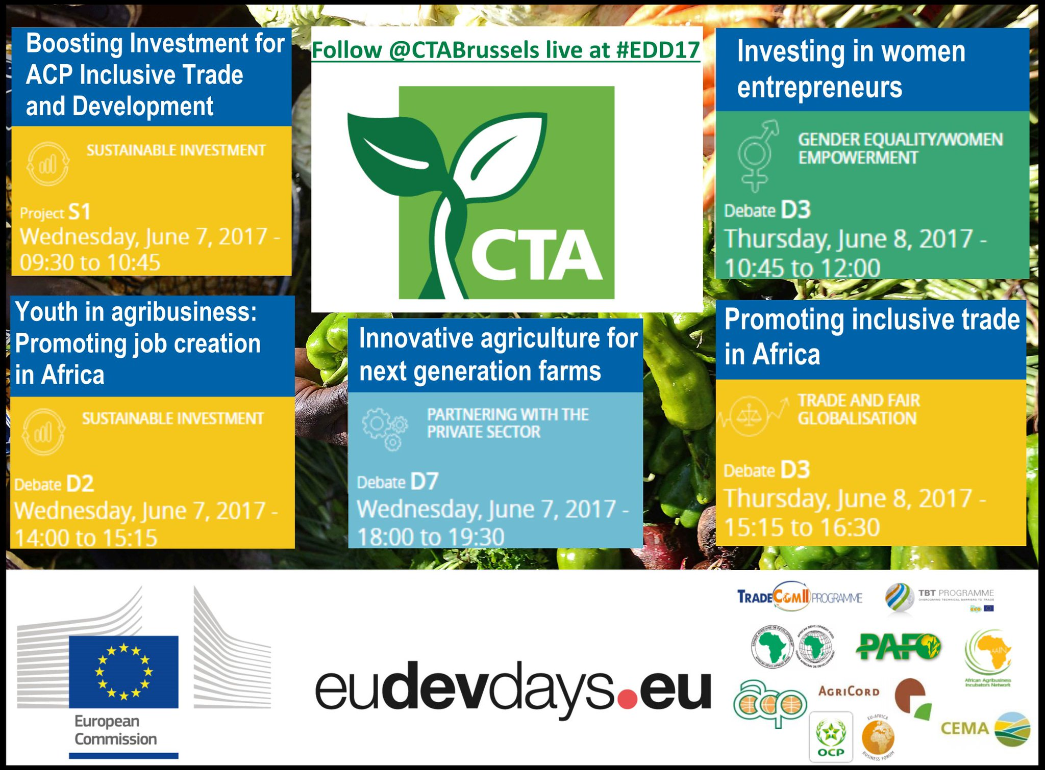 Follow us live @ #EDD17! We'll cover 5 unmissable debates on #Agribusiness w. #Youth, #Women & #Trade experts. Info: https://t.co/7S3ZA6WfkM https://t.co/Cu0swdfHod