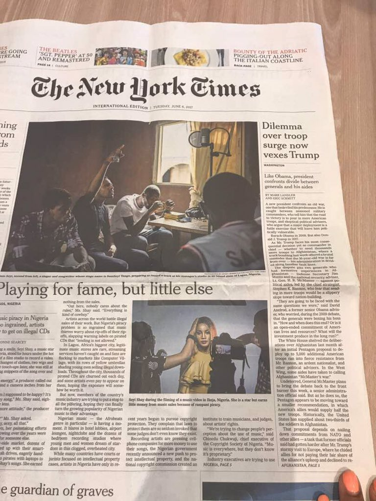 Yes mama we made it to the FRONT PAGE THE NEW YORK TIMES