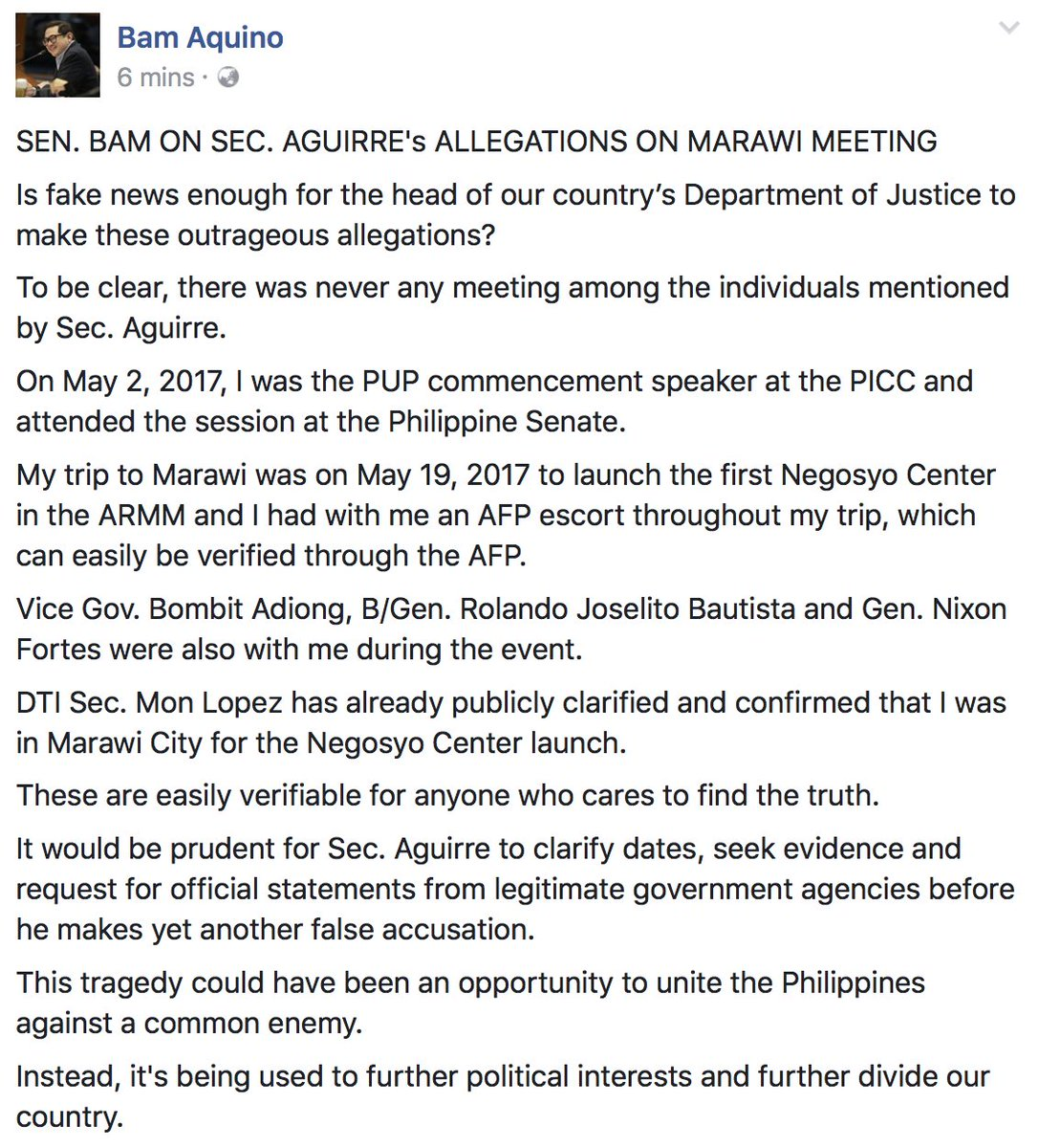 Sen. Bam Aquino replied to DOJ Sec 'Systems Glitch' Aguirre #AguirreLinks   https://t.co/AprZeXaiX4 https://t.co/9hRQV869QY