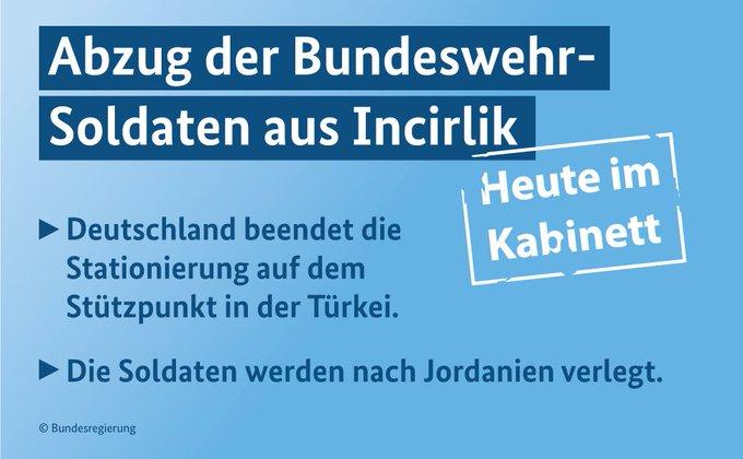 Grafik: Abzug der Bundeswehr-Soldaten aus Incirlik. Deutschland beendet die Stationierung auf dem Stützpunkt in der Türkei. Die Soldaten werden nach Jordanien verlegt. Heute im Kabinett.