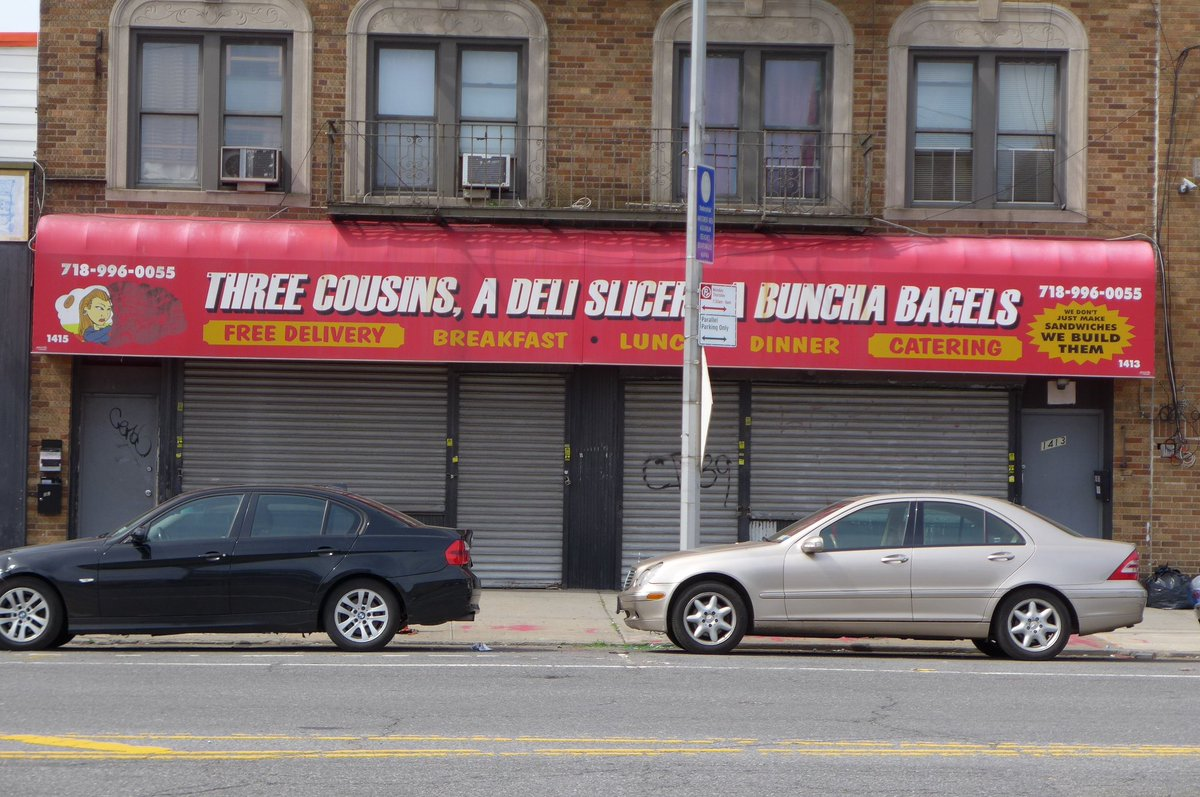Great restaurant names of NYC: Three Cousins, A Deli Slicer, And A Buncha Bagels, in Coney Island https://t.co/Np0r74kUya