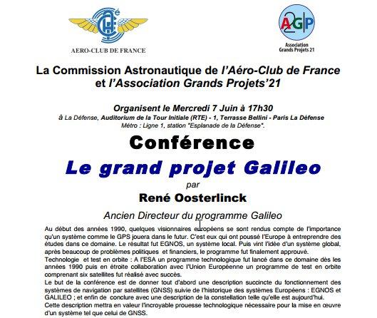 Le Grand #Projet #GALILEO [#Conférence] #aujourd 7 juin 17h30 Inscrip  http://www. aeroclub.com/evenements  &nbsp;   #spacial #GNSS #EGNOS #GPS #Europe #avgeek<br>http://pic.twitter.com/9zo8raogxB