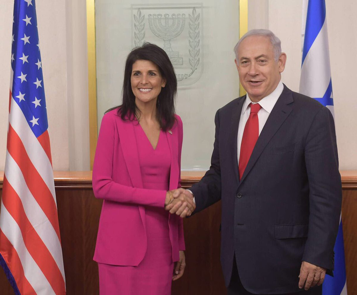 Ambassador @nikkihaley, welcome to Jerusalem! Thank you for standing with Israel and standing for the truth. 🇺🇸🇮🇱