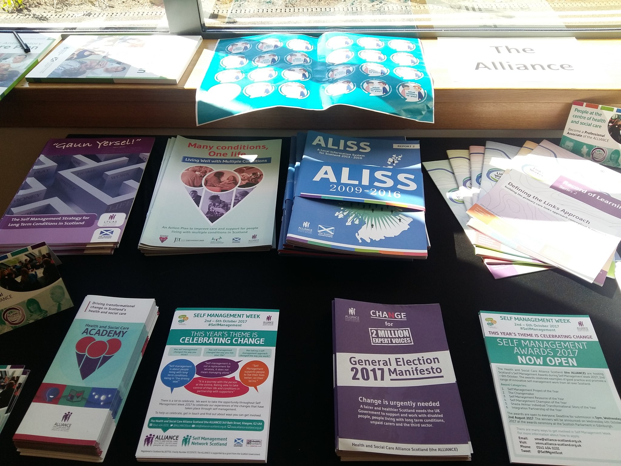 The @ALLIANCEScot table set up at the #ACPLaunch, doing some social reporting later come chat! https://t.co/xA3Cw63DMH