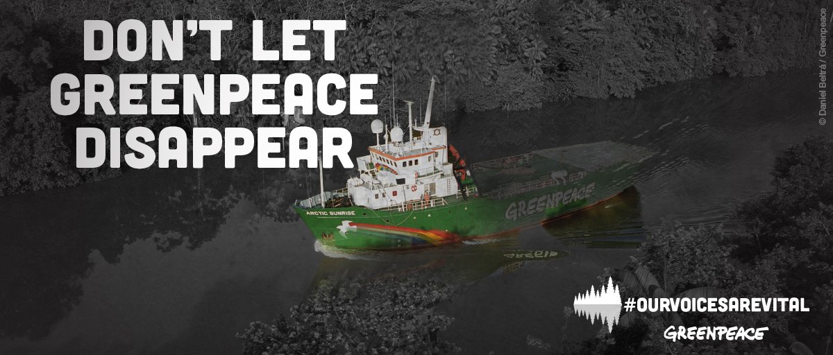 I'm supporting @Greenpeace against outrageous attempts to silence them. Please join me https://t.co/OaXreYzarz https://t.co/Qb3tgmAkSd
