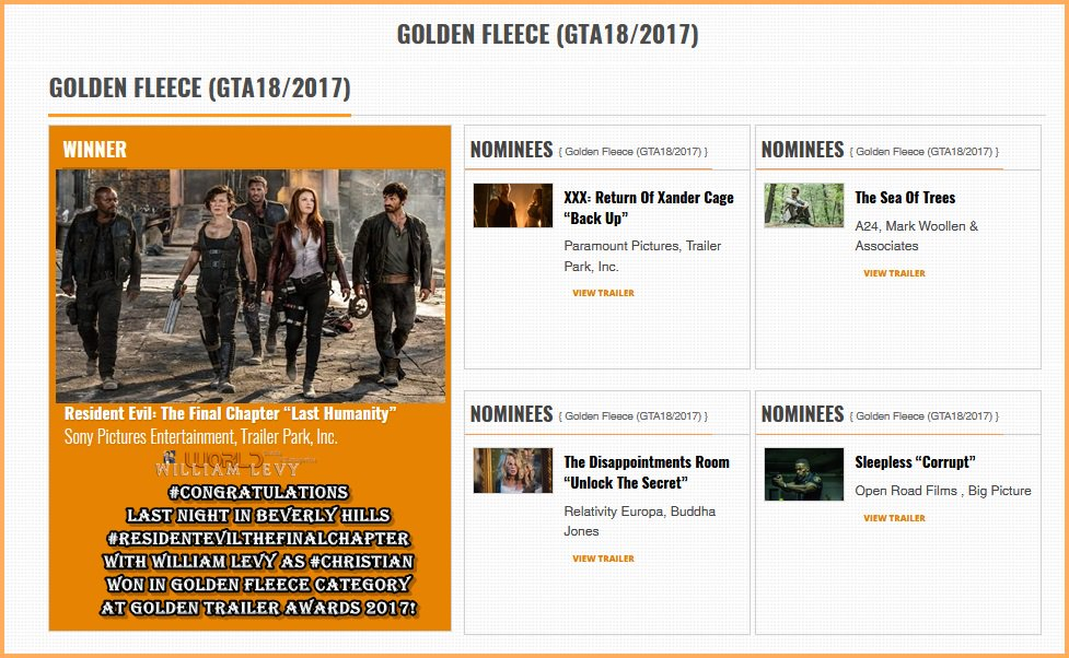 #ResidentEvilTheFinalChapter w/ @willylevy29 as #Christian won in #GoldenFleece category at #GoldenTrailerAwards https://t.co/l8ed5aLm95