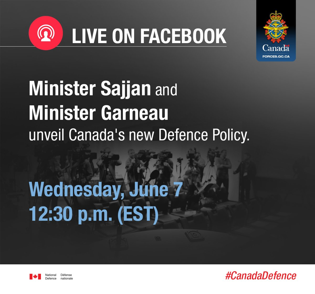 Today! Watch live on Facebook as we announce Canada's Defence Policy. #CanadaDefence https://t.co/0FrR3f9zGA https://t.co/huGW6cY0Y8