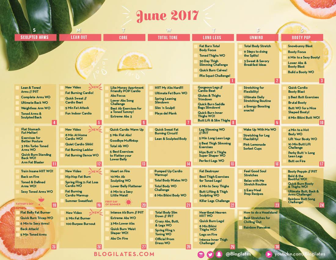 June Calendar Ilates : Ilates workout calendar may eoua