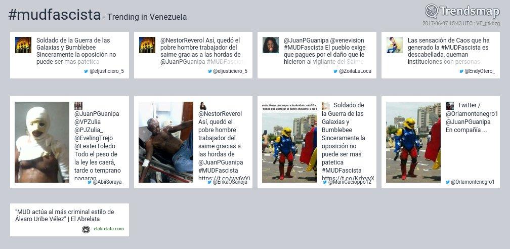 #mudfascista es ahora una tendencia en Venezuela  https://t.co/pTPdabjCK1 https://t.co/pKh5Zk4KLC