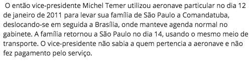 Após notícias de que viajou em jatinho de Joesley, Temer admite em nota ter viajado com a família em jato particular sem saber de quem era: