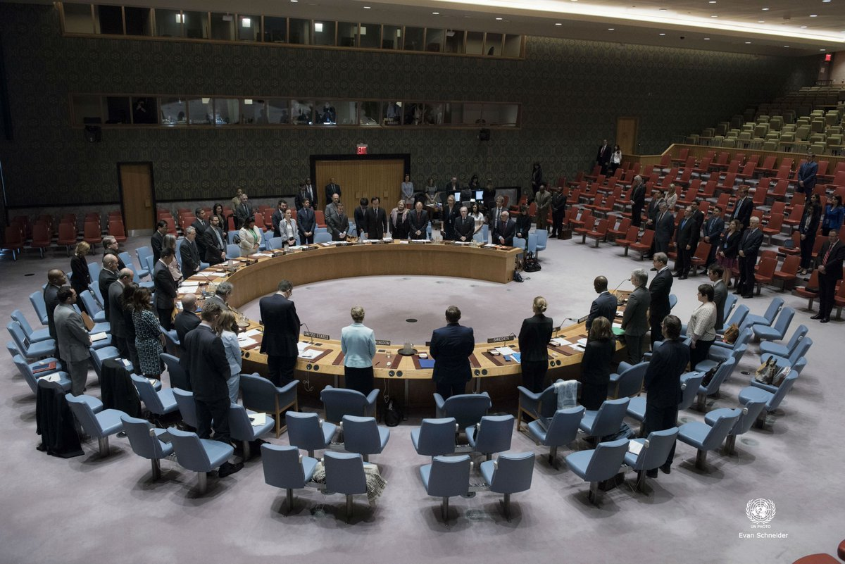 Minute of silence observed @UN Security Council in memory of the victims of terrorist attacks in Tehran #Iran today https://t.co/MtNU44aAJh