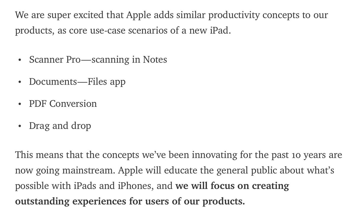 Pretty amazing how well @Readdle is taking iOS 11's sherlocking of many of their apps https://t.co/UGd1qpAIiU https://t.co/FvcjwYWWub