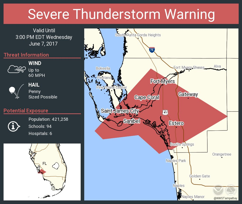 Nws Tampa Bay On Twitter Severe Thunderstorm Warning Including