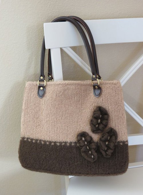 Knit Bag Pattern, Felted Purse Pattern, Knitting Pattern, Instant Download, PDF, Cafe au Lait