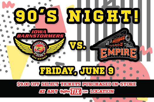 Get $9 off any $28 or $19 tix for @iabarnstormers  6/9 game at any Hy-...