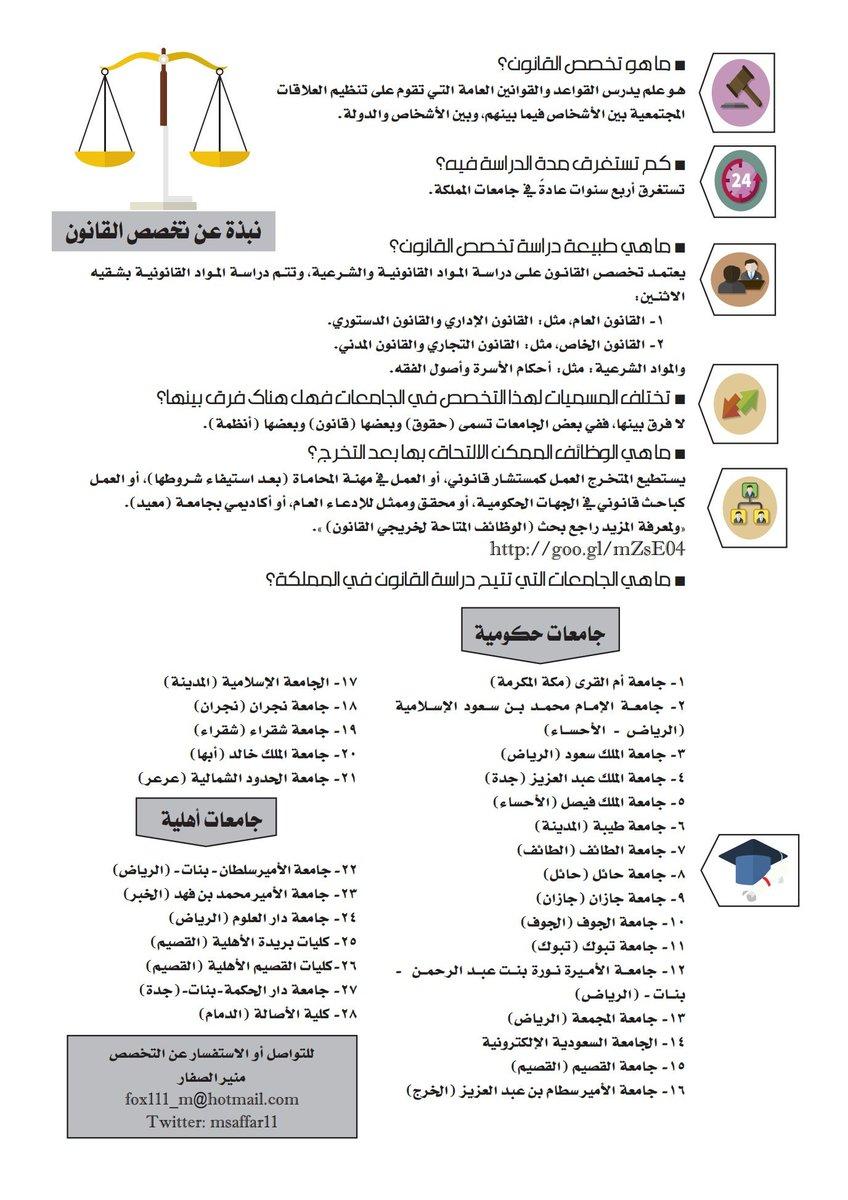 توعية قانونية على تويتر نبذة عن تخصص القانون تحوي الجامعات الحكومية والأهلية التي تتيح دراسة التخصص تخصص قانون توعية قانونية