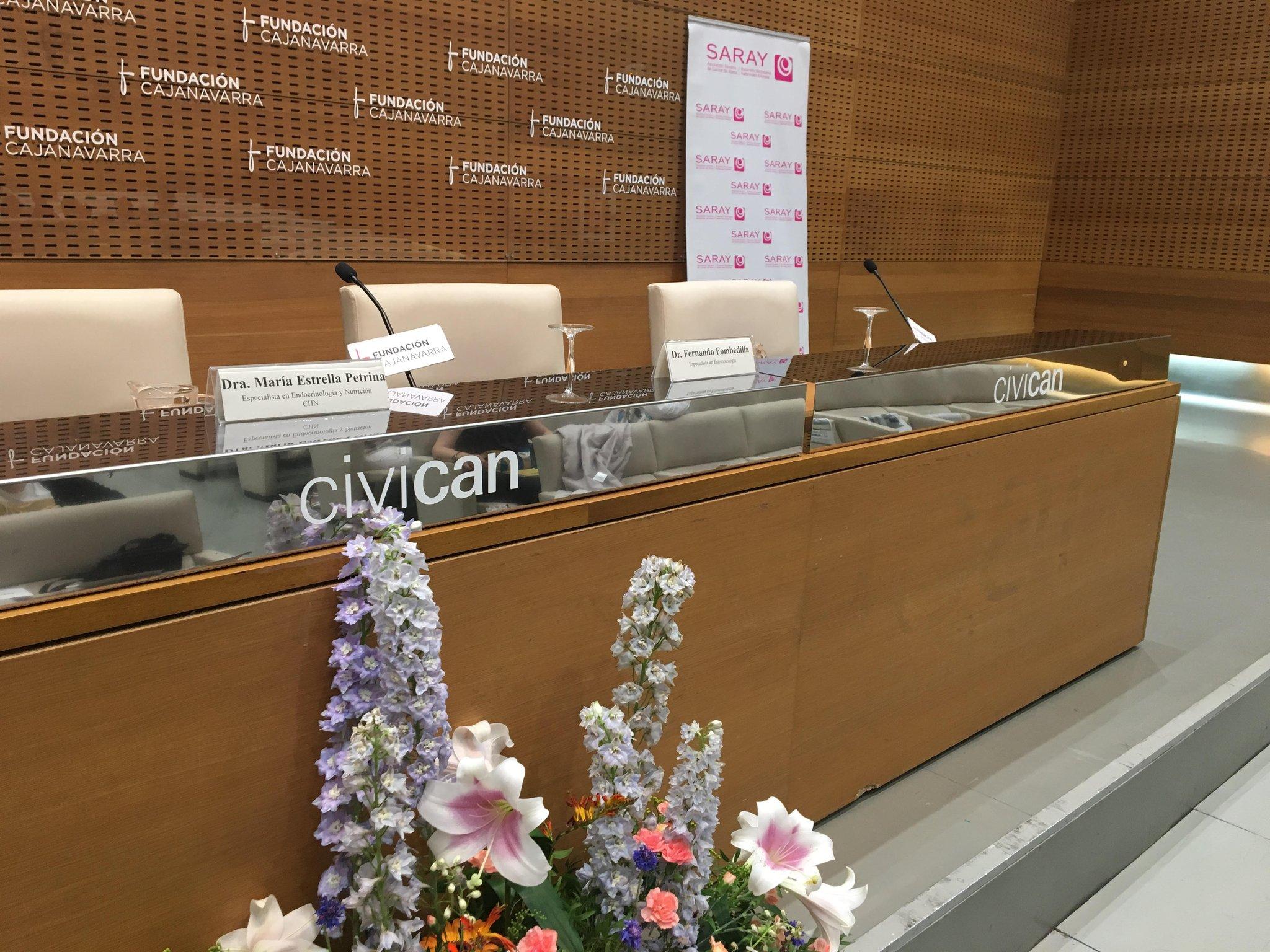 Todo preparado para comenzar la #JornadaSaray en @civicanFCN Alimentación y cáncer https://t.co/Sjt7GQbFUp