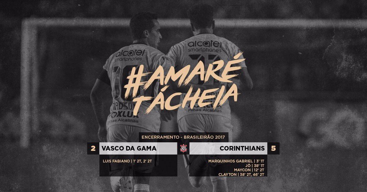 #AMaréTáCheia  É o Timão querendo golear... Em São Januário, Corinthians bate Vasco por 5 a 2 e lidera temporariamente o #Brasileirão.