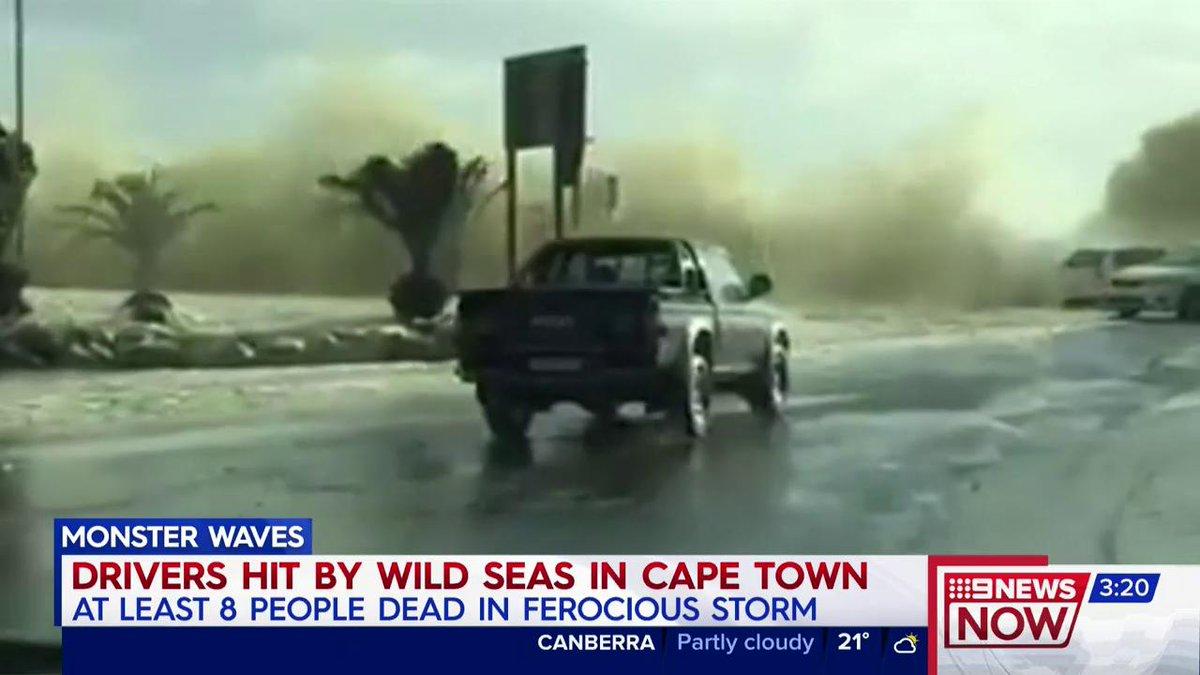 Cape Town : Monster waves crashed drivers Cape Town ferocious storm