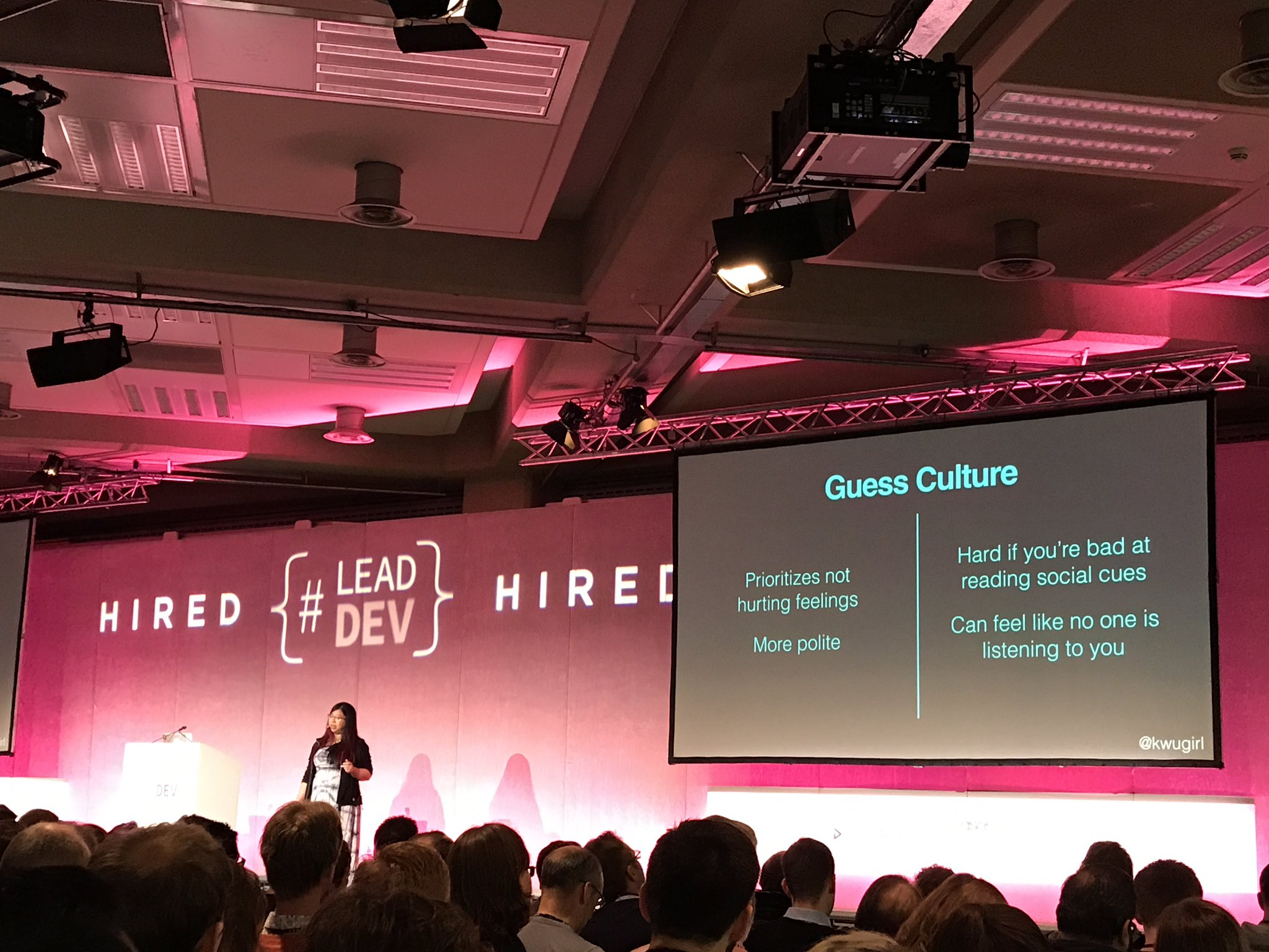 I missed the slide for pros/cons of Ask Culture, but here is @kwugirl on Guess/Offer Culture pros/cons. #LeadDev https://t.co/3sruof8Lv3