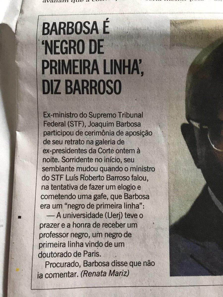 Não seria um jurista de primeira linha? Com essa declaração, o min Barroso se mostra um branco de segunda linha.